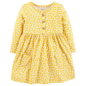 New Carters Baby Girl Floral Print Dress Yellow